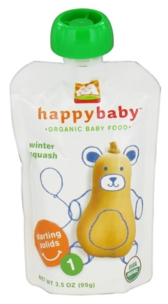 DROPPED: HappyBaby - Organic Baby Food Stage 1 Starting Solids Winter Squash - 3.5 oz. CLEARANCE PRICED