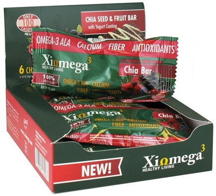 DROPPED: XiOmega - Chia Seed & Fruit Bar with Yogurt Coating - 6 x 0.9 oz Bars