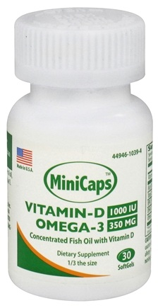 DROPPED: Ocean Blue Professional - Vitamin-D 1000 IU Omega-3 350 MG MiniCaps - 30 Softgels