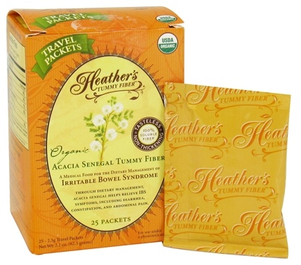 Heather's Tummy Care - Tummy Fiber Organic Acacia Senegal Powder - 25 x 2.5g Travel Packets