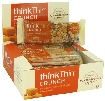 DROPPED: Think Products - thinkThin Crunch Bar Caramel Chocolate Dipped Mixed Nuts - 1.41 oz.