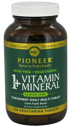 DROPPED: Pioneer - 1+ Vitamin Mineral Iron-Free - 120 Vegetarian Tablets CLEARANCE PRICED