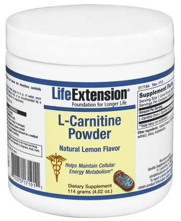 DROPPED: Life Extension - L-Carnitine Powder Lemon 1000 mg. - 4.02 oz. CLEARANCE PRICED