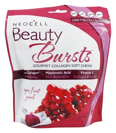 NeoCell - Beauty Bursts Gluten Free Gourmet Collagen Super Fruit Punch - 60 Soft Chews