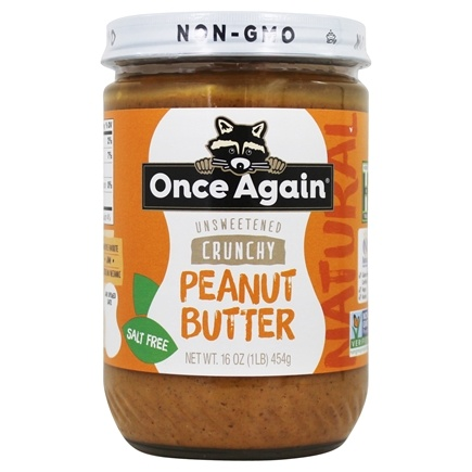 Once Again - Natural Old Fashioned Unsweetened & Salt Free Peanut Butter Crunchy - 16 oz.