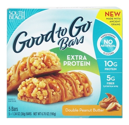 South Beach Diet - Good to Go Bars Extra Protein Double Peanut Butter - 5 Bars