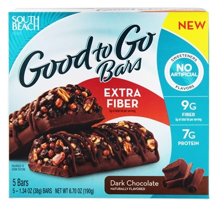 DROPPED: South Beach Diet - Good to Go Cereal Bars Extra Fiber Dark Chocolate - 5 Bars