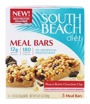 South Beach Diet - Meal Bars Peanut Butter Chocolate Chip - 5 Bars Formerly Chocolate Peanut Butter