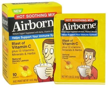DROPPED: Airborne - Immune Support Hot Soothing Mix Natural Honey Lemon Flavor - 10 x 4.6g Packets