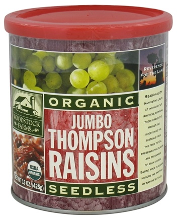 DROPPED: Woodstock Farms - Organic Jumbo Thompson Seedless Raisins - 15 oz.