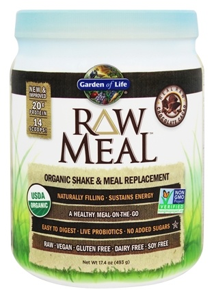 Garden of Life - RAW Meal Organic Shake & Meal Replacement Chocolate Cacao - 17.4 oz.