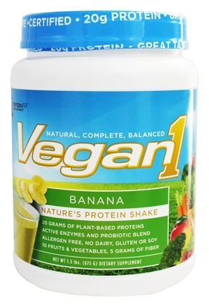 DROPPED: Nutrition 53 - Vegan1 Protein Shake Banana - 1.5 lbs.