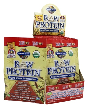 DROPPED: Garden of Life - Raw Protein Beyond Organic Protein Formula Vanilla Spiced Chai - 15 x .79 oz. Packets