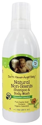 DROPPED: Earth Mama Angel Baby - Shampoo & Body Wash Natural Non-Scents Unscented Calendula - 1 Liter