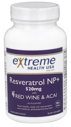 DROPPED: Extreme Health USA - Resveratrol NP+ with Red Wine & Acai - 60 Vegetarian Capsules