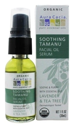 Aura Cacia - Facial Oil Serum Soothing Tamanu Lavender & Tea Tree - 1 oz.