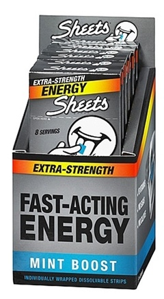 DROPPED: Sheets - Energy Strips Extra-Strength Mint Boost - 8 Strip(s)