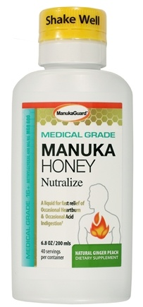 Manuka Guard - Nutralize With Certified Medical Grade Active Manuka Honey Natural Ginger Peach - 7 oz.