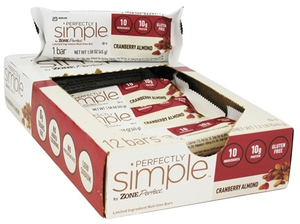 DROPPED: Zone Perfect - Perfectly Simple Nutrition Bar Cranberry Almond - 1.58 oz. CLEARANCED PRICED