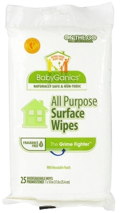 DROPPED: BabyGanics - All Purpose Surface Wipes The Grime Fighter Fragrance Free - 25 Wipe(s) CLEARANCED PRICED