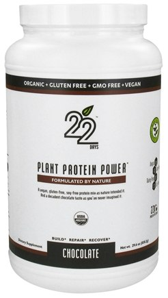 DROPPED: 22 Days Nutrition - Plant Protein Power Chocolate - 29.6 oz. CLEARANCED PRICED