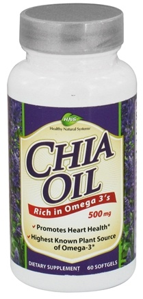 DROPPED: Healthy Natural Systems - Chia Oil 500 mg. - 60 Softgels CLEARANCED PRICED