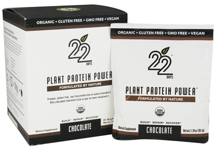 DROPPED: 22 Days Nutrition - Plant Protein Power Chocolate - 10 x 1.34 oz. Packets - CLEARANCE PRICED
