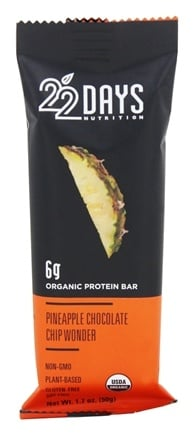 22 Days Nutrition - Vegan Energy Bar Pineapple Chocolate Chip Wonder - 1.7 oz.