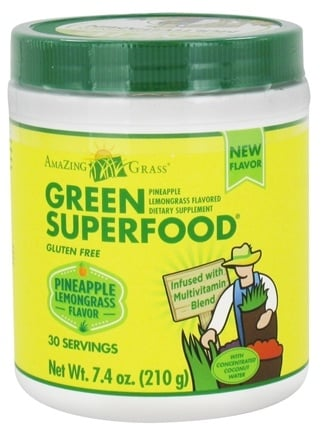 DROPPED: Amazing Grass - Green Superfood 30 Servings Pineapple Lemongrass - 7.4 oz. CLEARANCE PRICED