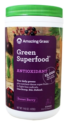 Amazing Grass - Green Superfood ORAC Drink Powder 60 Servings Antioxidant Berry - 14.8 oz.