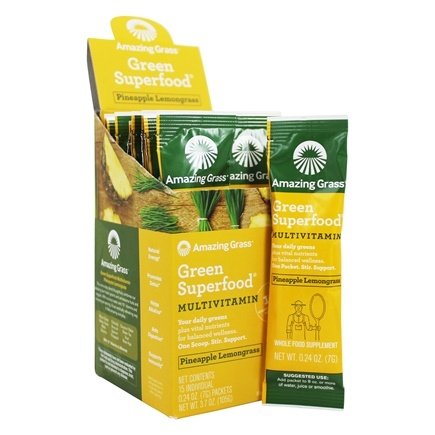 Amazing Grass - Green Superfood Pineapple Lemongrass - 15 x 7g Packets