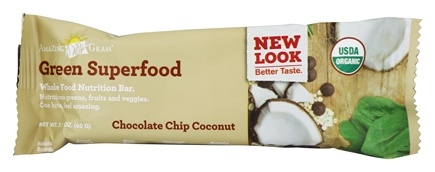 Amazing Grass - Green Superfood Whole Food Energy Bar Chocolate Chip Coconut - 2.1 oz.