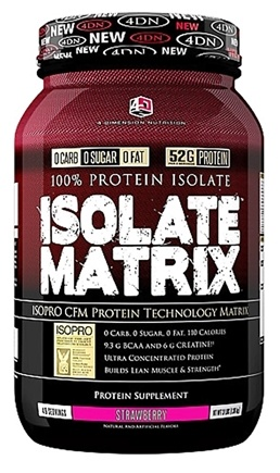 DROPPED: 4 Dimension Nutrition - 100% Protein Isolate Matrix Strawberry - 3 lbs. CLEARANCED PRICED