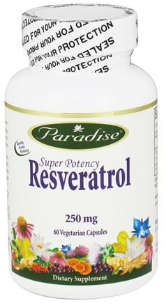 DROPPED: Paradise Herbs - Super Potency Resveratrol 250 mg. - 60 Vegetarian Capsules CLEARANCE PRICED