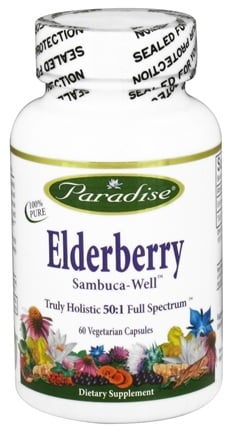 DROPPED: Paradise Herbs - Elderberry Sambuca-Well - 60 Vegetarian Capsules CLEARANCED PRICED