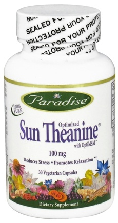 DROPPED: Paradise Herbs - Sun Theanine with OptiMSM 100 mg. - 30 Vegetarian Capsules CLEARANCE PRICED