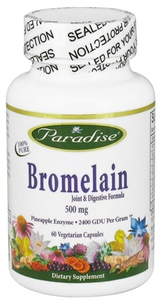 DROPPED: Paradise Herbs - Bromelain Joint & Digestive Formula 500 mg. - 60 Vegetarian Capsules CLEARANCE PRICED