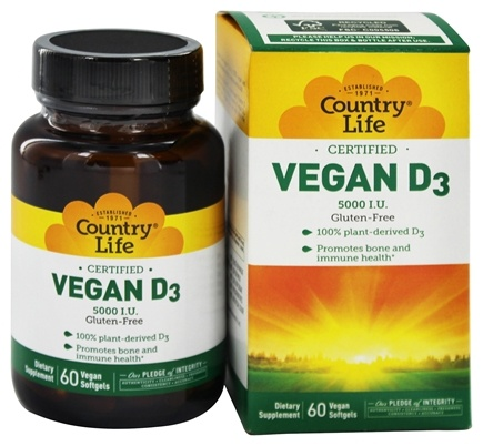 Country Life - Vegan D3 5000 IU - 60 Vegetarian Softgels