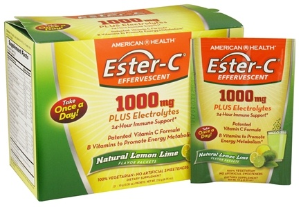 DROPPED: American Health - Ester-C Effervescent Natural Lemon Lime 1000 mg. - 21 Packet(s)