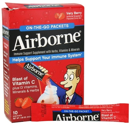 DROPPED: Airborne - On The Go Immune Support Supplement Very Berry - 10 Packet(s) CLEARANCE PRICED