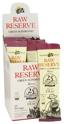 DROPPED: Amazing Grass - Raw Reserve Organic Green Superfood Berry - 15 x 8g Packets CLEARANCED PRICED