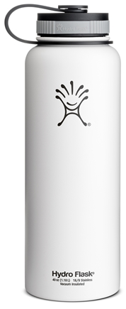 Hydro Flask - Stainless Steel Water Bottle Vacuum Insulated Wide Mouth Arctic White - 40 oz.