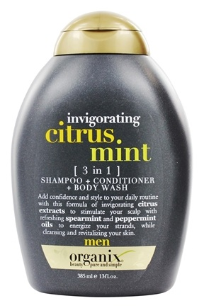 Organix - 3 In 1 Shampoo + Conditioner + Body Wash Invigorating Citrus Mint For Men - 13 oz.