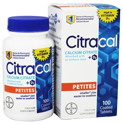 Bayer Healthcare - Citracal Petites Calcium Citrate + D3 - 100 Coated Tablets