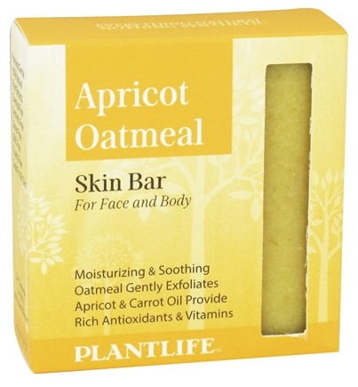 DROPPED: Plantlife Natural Body Care - Skin Bar Soap For Face & Body Apricot Oatmeal - 4.5 oz. CLEARANCE PRICED