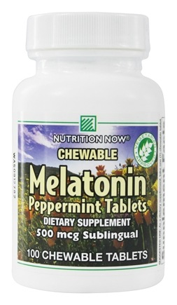 Nutrition Now - Chewable Melatonin Peppermint 500 mcg. - 100 Chewable Tablets