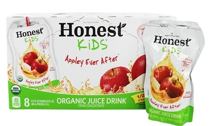 DROPPED: Honest Kids - Organic Juice Drink Appley Ever After - 8 x 6.75 Pouches - CLEARANCE PRICED