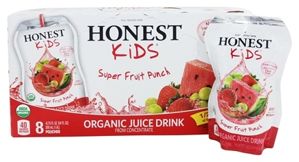 Honest Kids - Organic Juice Drink Super Fruit Punch - 8 x 6.75 Pouches