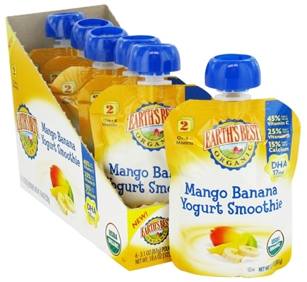 DROPPED: Earth's Best - Organic Yogurt Smoothie Mango Banana - 3.1 oz.