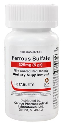 Sun Pharma - Ferrous Sulfate Film Coated Red Tablets 325 mg. - 100 Tablets formerly United Research Labs